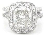 Cushion cut diamond ring and band bezel set art deco 2.96ctw 18k