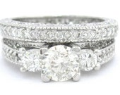 Round cut diamond engagement ring and band 2.25ctw