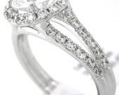 Round cut diamond engagement ring art deco 1.60ctw