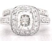 Cushion cut diamond engagement ring and band art deco 1.81ctw