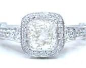 14k white gold cushion cut bezel set diamond engagement ring 1.75ctw