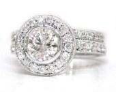 Round cut diamond engagement ring and band bezel set 1.70ctw