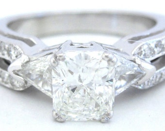 Radiant triangle and round diamond engagement ring 2.00ct