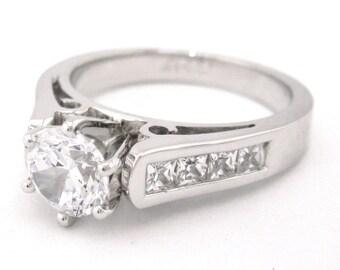 14k round cut deco diamonds engagement ring 1.85ct