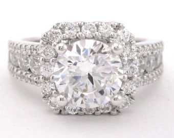 Round cut diamond engagement ring art deco 2.26ctw