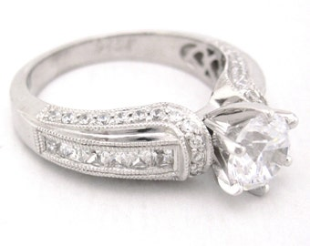 Round cut diamond engagement ring antique art deco 1.47ctw