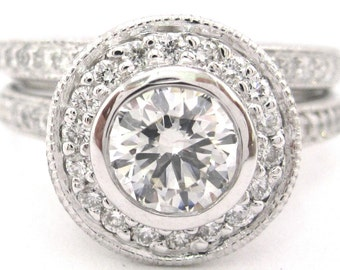 Round diamond engagement bezel set ring and band 1.45ctw