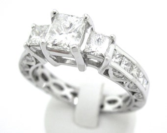 Princess cut diamond engagement ring 2.05ctw