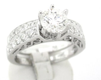 Round cut diamond engagement ring and band 1.15ctw 18k
