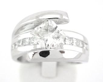Princess cut diamond tension set engagement ring 1.72ctw