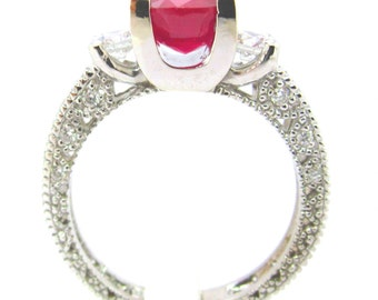 14k White Gold Ruby and round diamonds antique design ring 3.00ctw
