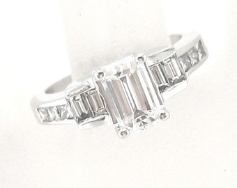 Emerald cut diamond engagement ring 1.85ctw