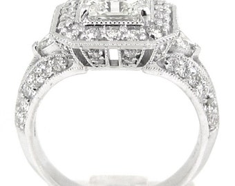 14k white gold Asscher Forever One Moissanite and round and triangle cut diamond ring 2.85ctw
