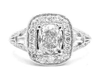 Cushion cut diamond engagement ring antique 1.86ctw