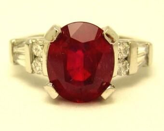 Ruby and diamond art deco design platinum ring 5.05ctw