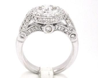 Round cut diamond engagement ring bezel set 2.19ctw