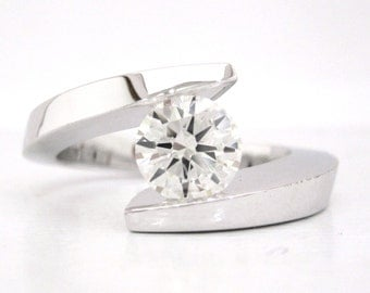 Round diamond engagement ring tension set 1.20ctw