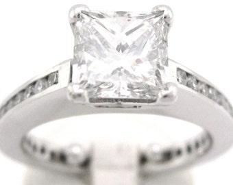 Princess and round cut diamond engagement ring 1.95ctw