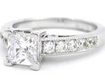 Princess cut diamond engagement ring 1.30ctw