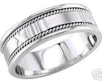 14k white gold mens 7mm roman numerals wedding band
