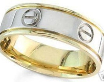 14k two tone gold mens screwdriver 7mm wedding band
