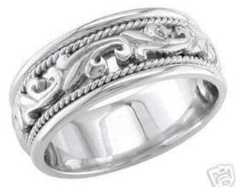 14k white gold mens 9mm link braided wedding band