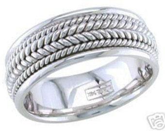 14k white gold mens 8mm braided wedding band elegant