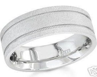 14k white gold mens 7mm sandblast wedding band