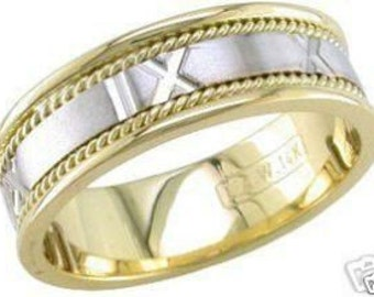 14k two tone gold mens 7mm roman numerals wedding band
