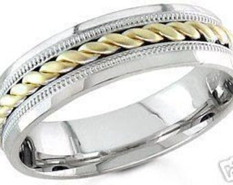 14k white and yellow gold mens 6mm braided wedding band