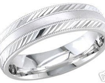 14k white gold mens 6.5mm sandblast wedding band