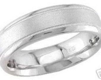 14k white gold mens 6mm sandblast wedding band