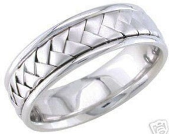 14k white gold mens 7mm link braided wedding band