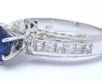 Round sapphire and diamond ring art deco 2.35ctw