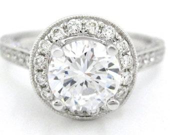 Round cut diamond engagement ring art deco 1.88ctw
