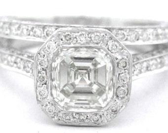 Asscher cut diamond bezel set engagement ring and band 2.45ctw