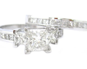 Princess cut diamond engagemetn ring and band 2.56ctw