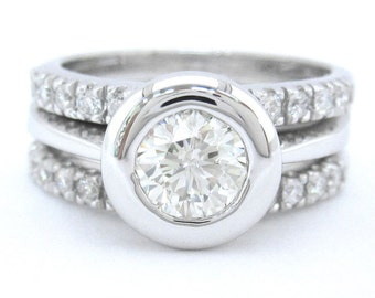 Round diamond engagement ring and bands bezel set 1.70ctw