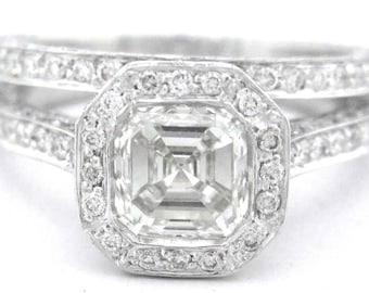 Asscher cut diamond bezel engagement ring and band 2.45ct