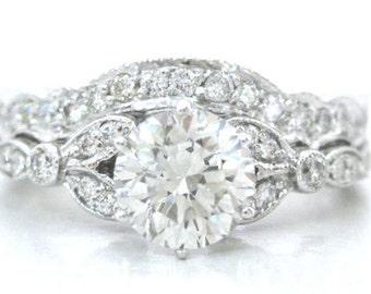 Round antique diamond engagement ring and band 1.56ctw 18k