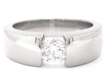 Round diamond tension set engagement ring solitaire 0.75ctw