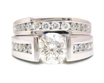 14k white gold round diamond engagement ring and band tension set 2.50ctw