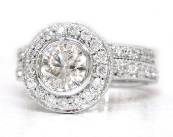 Round cut diamond engagement ring and band bezel set 1.70ctw