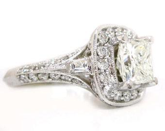 14k white gold Princess cut moissanite and diamond engagement ring antique 2.30ctw