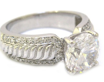 14k white gold round cut moissanite and diamond engagement ring 2.40ctw