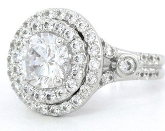 14k white gold round cut diamond engagement ring art deco 1.75ctw