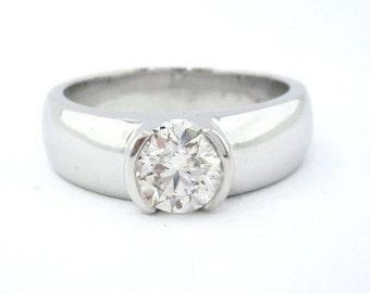 Round cut diamond ring semi bezel set 1.00ctw