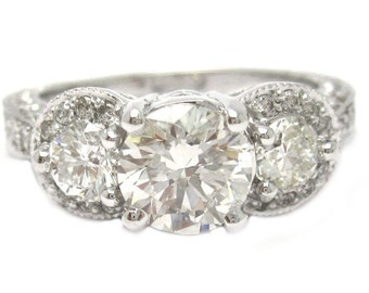 Round cut diamond engagement ring antique style 2.19ctw
