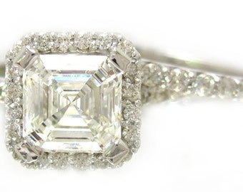 Asscher cut engagement ring and band  2.35ctw