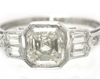 Asscher cut diamond engagement ring bezel set 1.40ctw